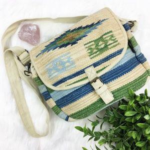 Catori Canvas Woven Boho Crossbody Bag